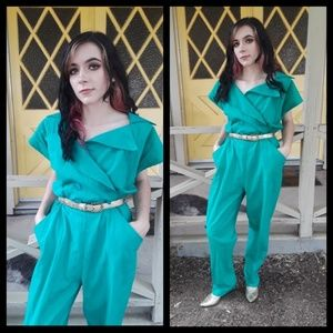 Awesome! Vtg 80s green jumpsuit L/XL!